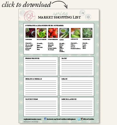 Stephanie Alexander's Market Shopping List - November