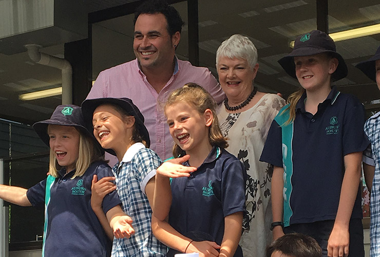 Stephanie Alexander with Miguel Maestre and school children